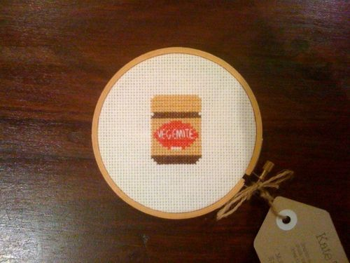 Vegemite cross stitch